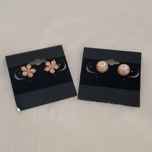 Pink stone earrings and faux pearl earrings
